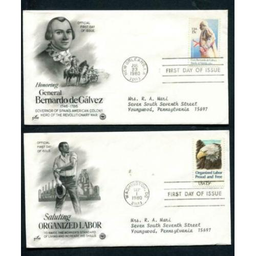 USA - 8 x 1e dagenvelop 1980 -Generaal de Galvez/Indian Art