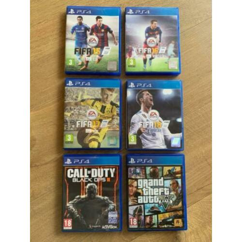 PlayStation PS4 diverse games spellen GTA Black Ops FIFA 18