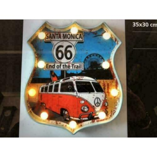 Route 66 bord met led-verlichting 25 % korting